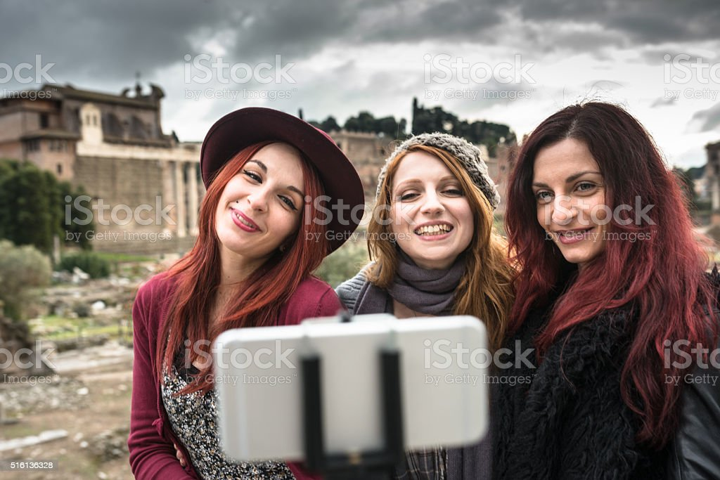 Taking a selfie in Rome with the stick stock photo