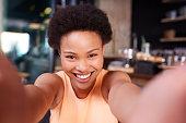 Taking a selfie in the coffee shop