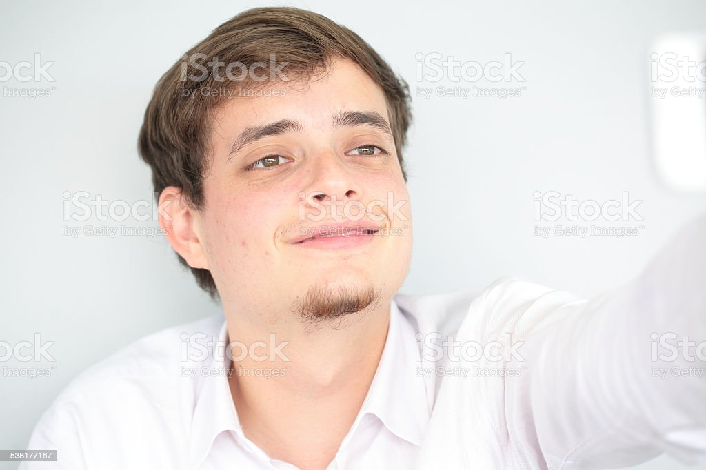 Taking a Selfie Smiling stock photo