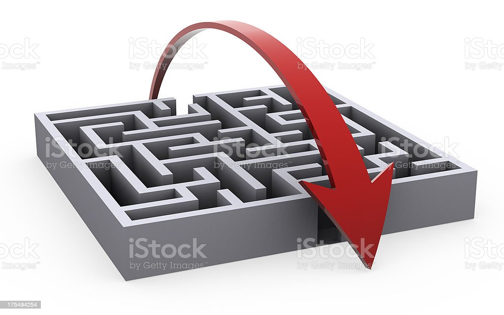 Taking a shortcut to solve the maze stock photo
