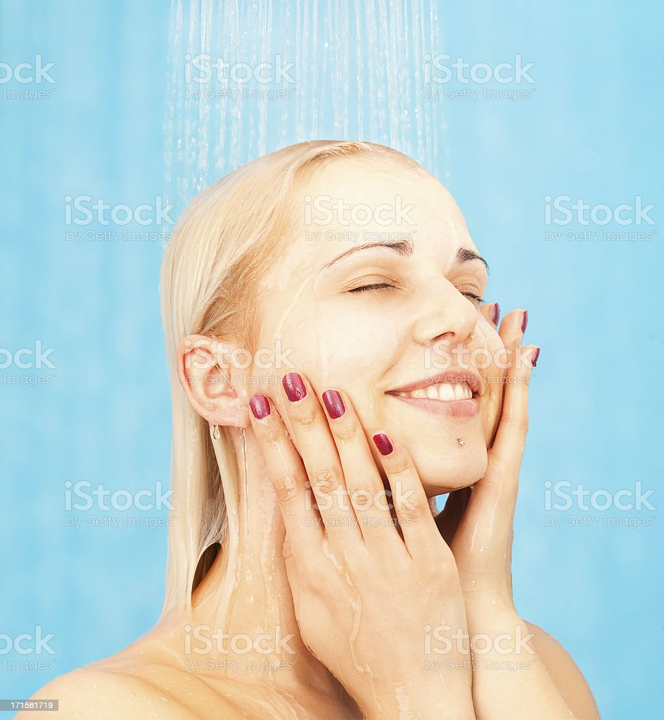Taking A Shower royalty-free stock photo