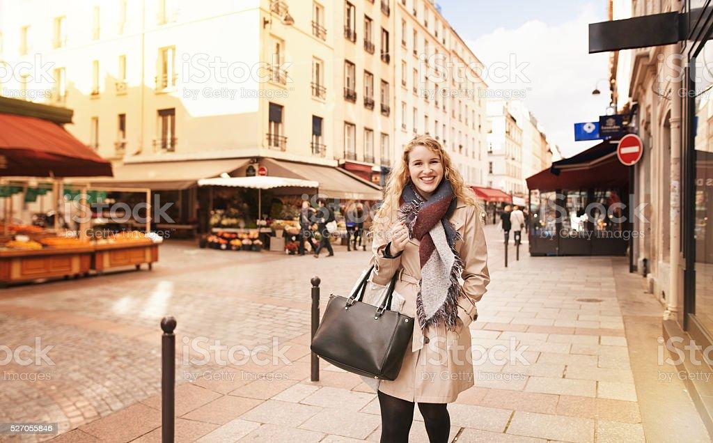Taking a walk through the city stock photo