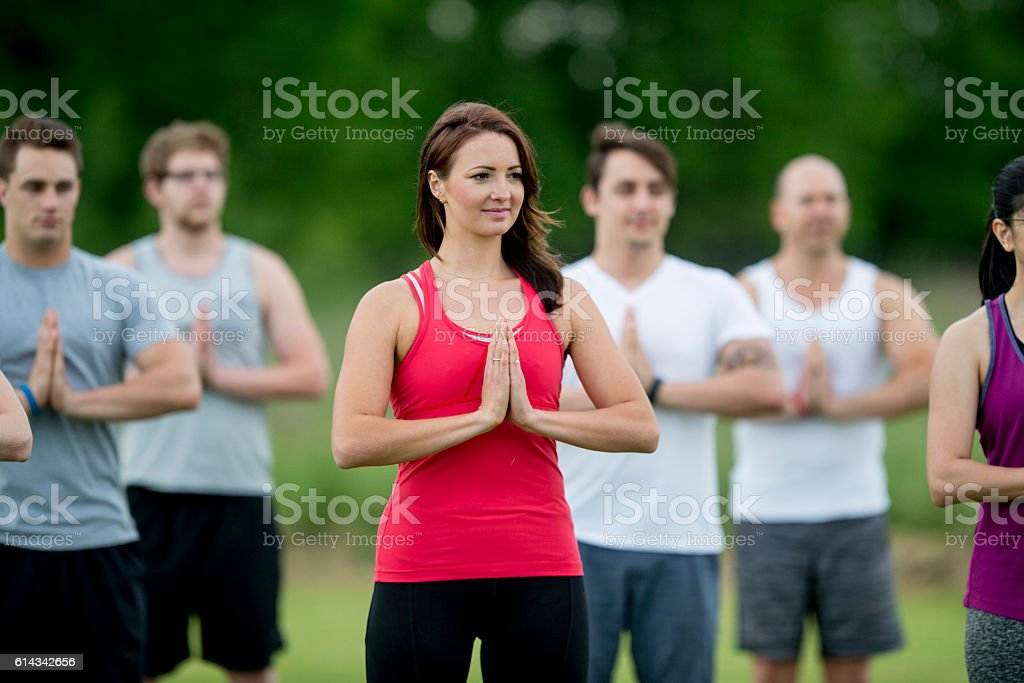Taking a Yoga Class stock photo