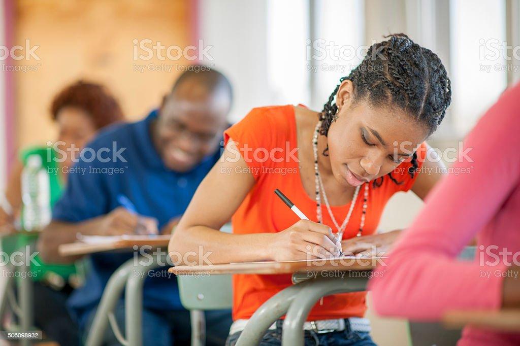 Taking an Exam in University stock photo