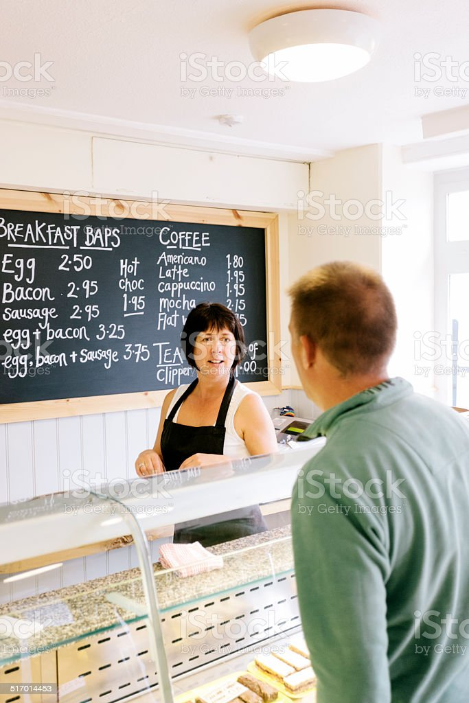 Taking an order stock photo