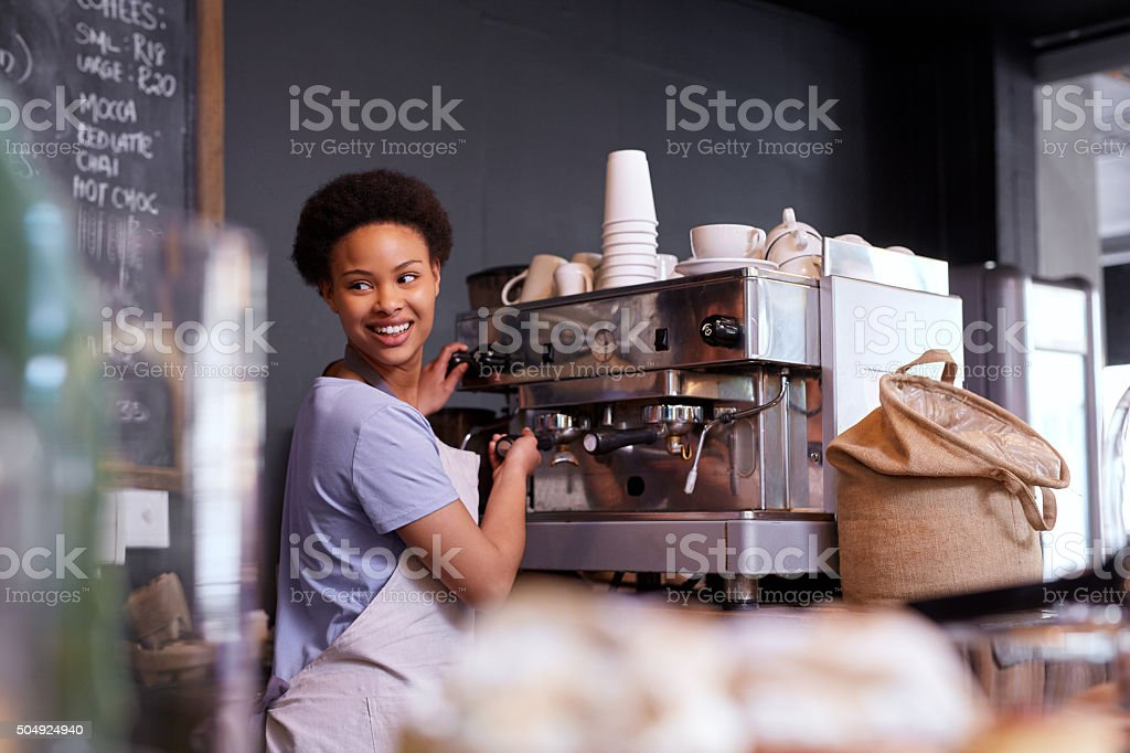Taking and making orders stock photo