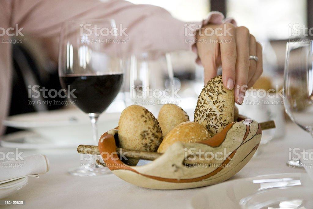 Taking bread royalty-free stock photo