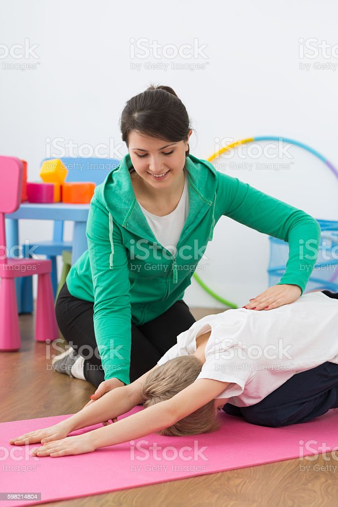 Taking care of correct posture stock photo