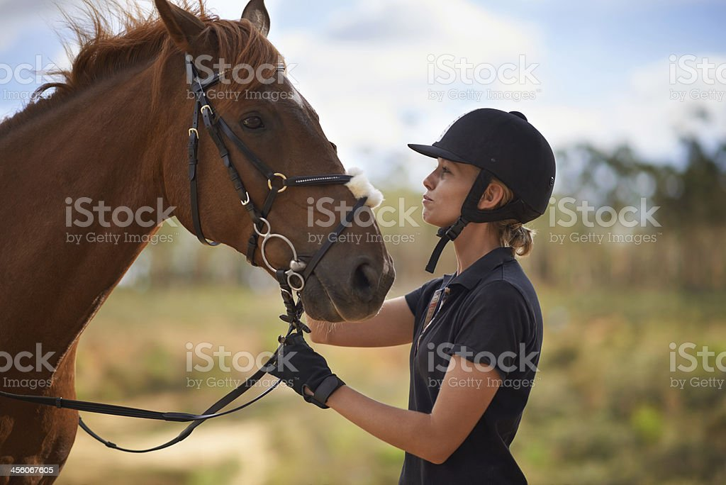 Taking care of her best friend stock photo