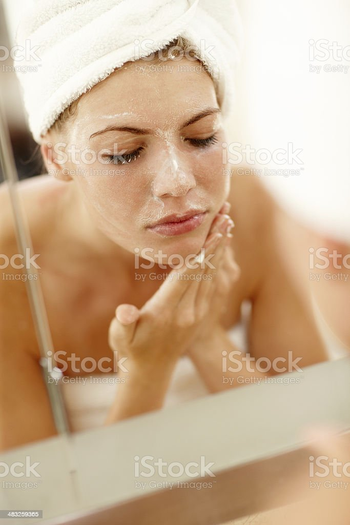 Taking care of my skin stock photo