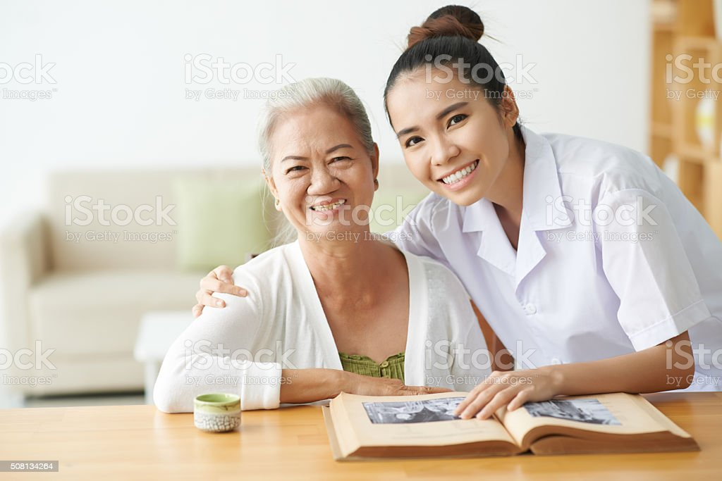 Taking care of patient stock photo