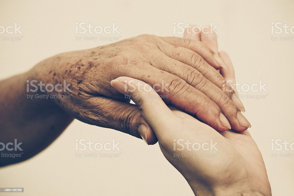 Taking care of the elderly people stock photo