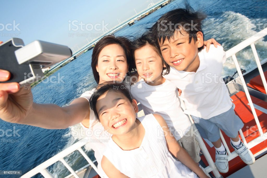 Taking children and mothers stock photo