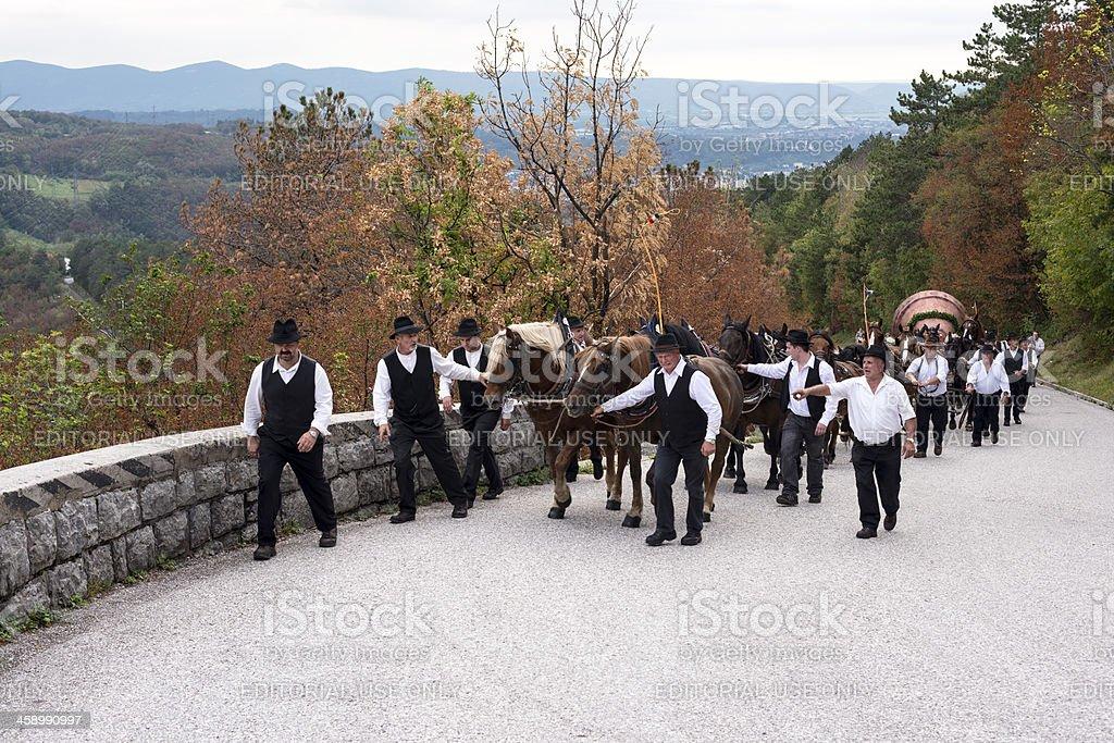 Taking Church Bell to Sveta Gora Slovenia Europe stock photo