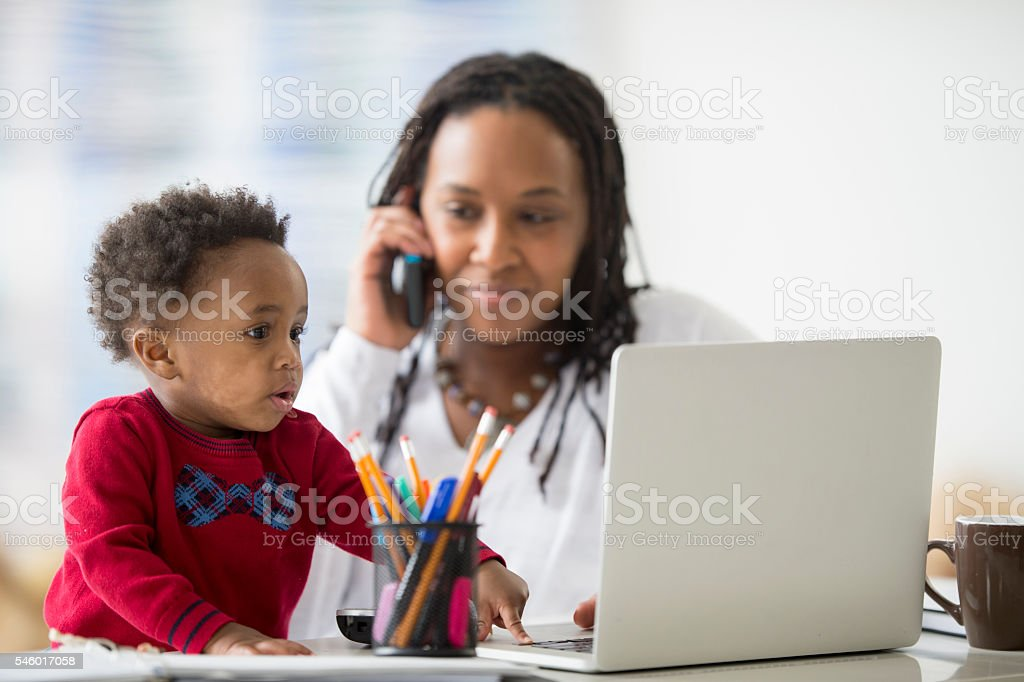 Taking Client Calls From Home stock photo