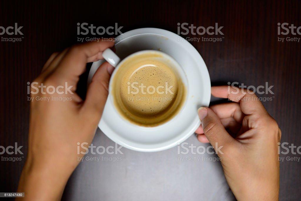 Taking coffee stock photo