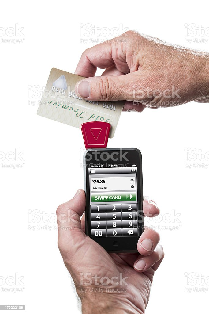 Taking Credit Cards on Mobile Phone royalty-free stock photo