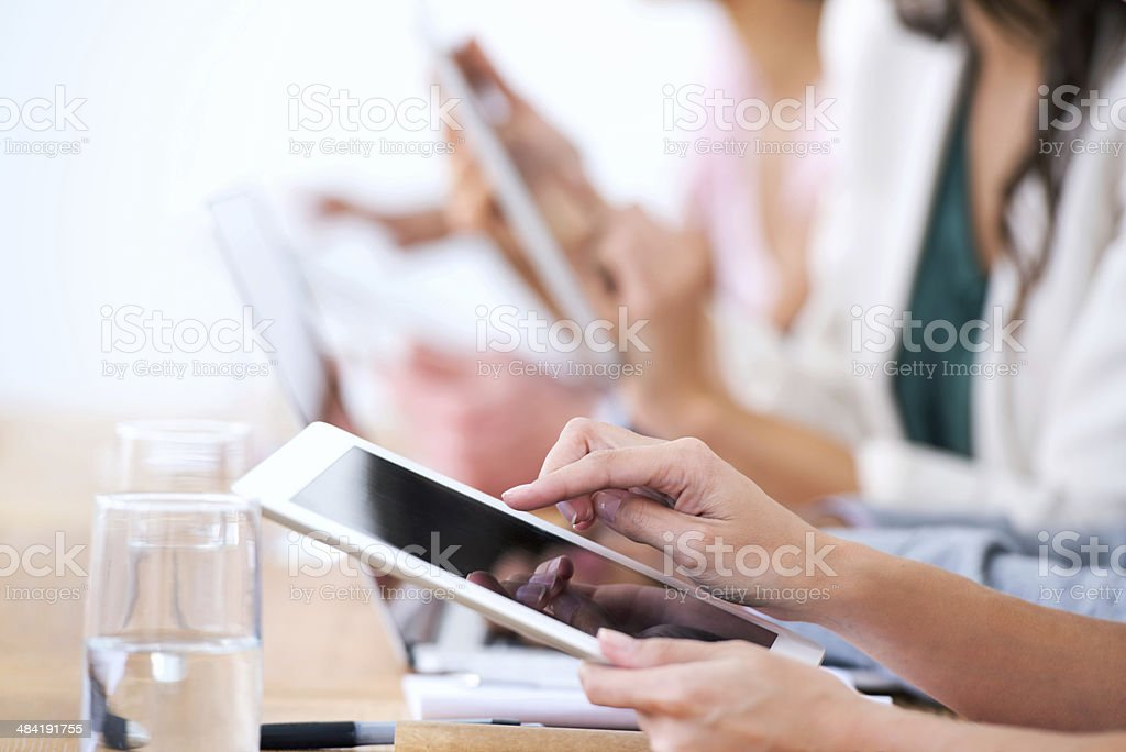 Taking down notes in the 21st Century stock photo