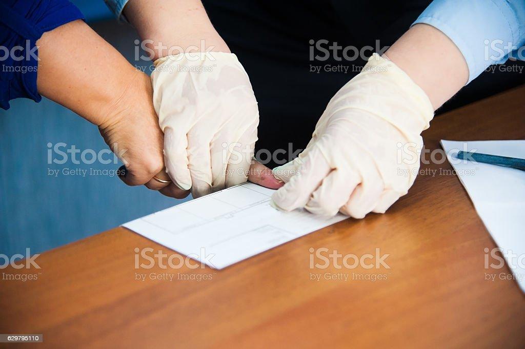 Taking fingerprints stock photo