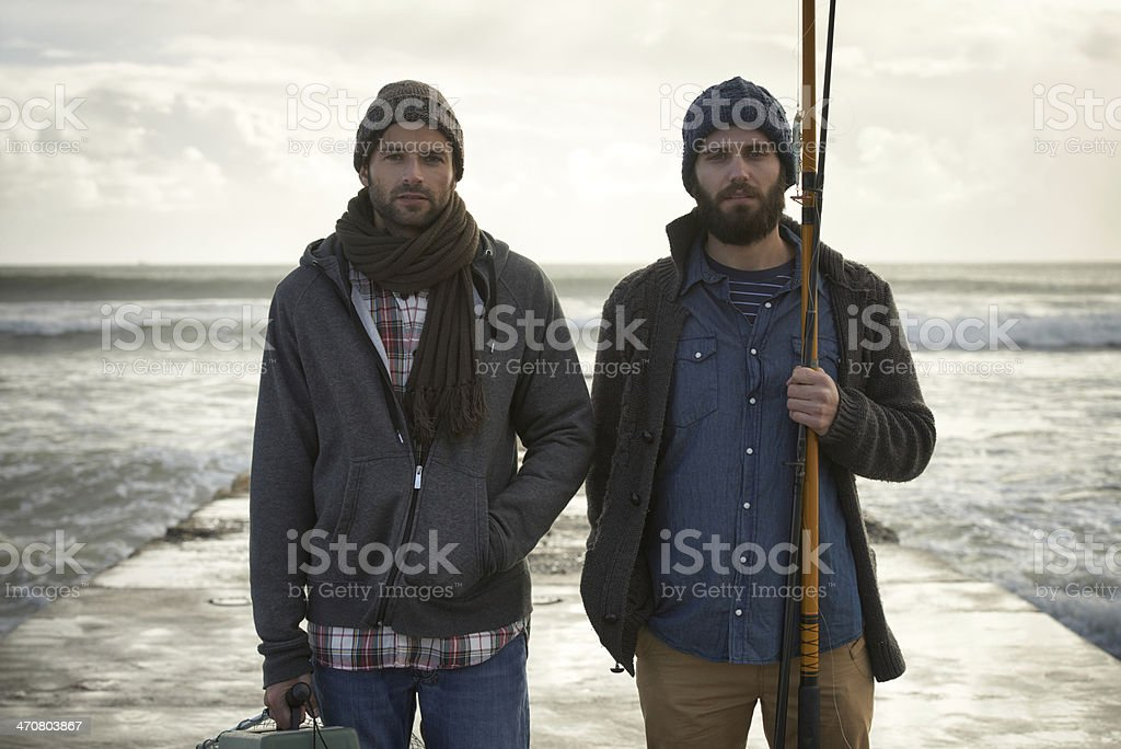 Taking fishing pretty seriously... stock photo