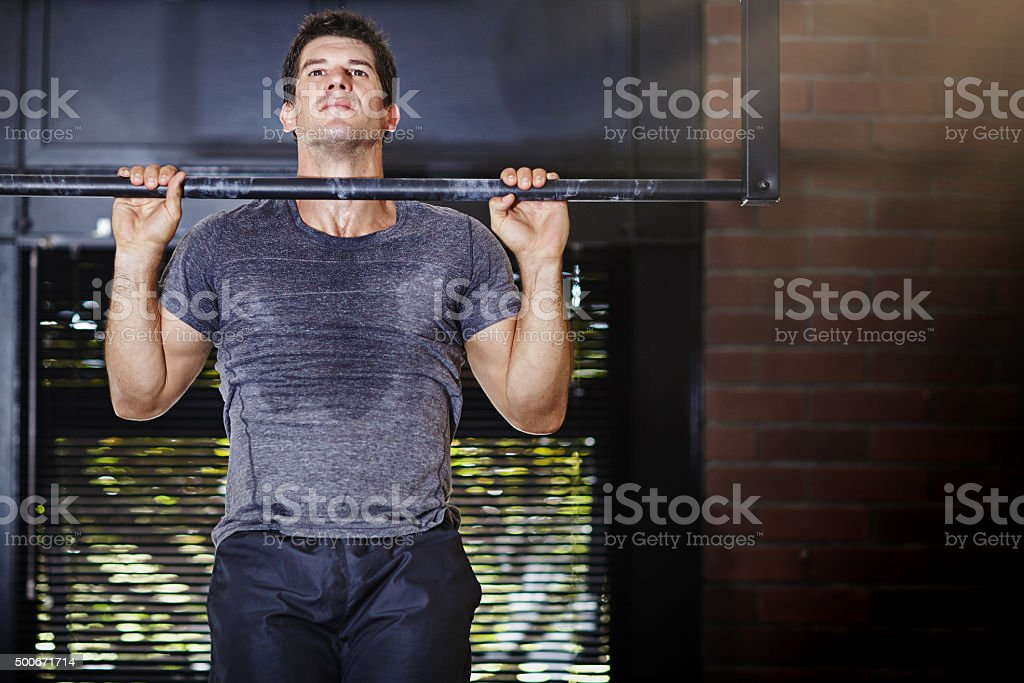 Taking fitness on the chin stock photo