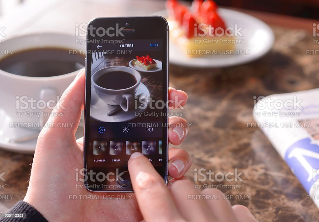 Taking food photo with Instagram stock photo