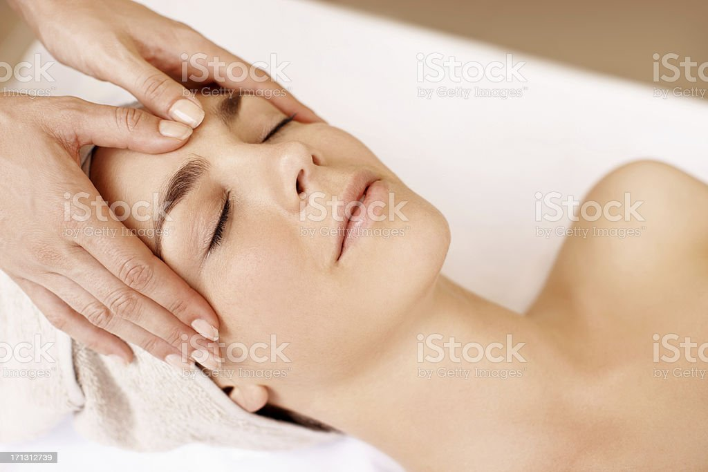 Taking great care of her skin royalty-free stock photo
