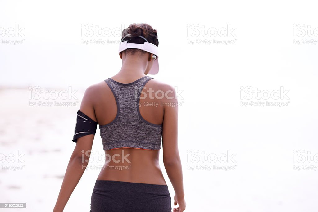 Taking her workout outside stock photo