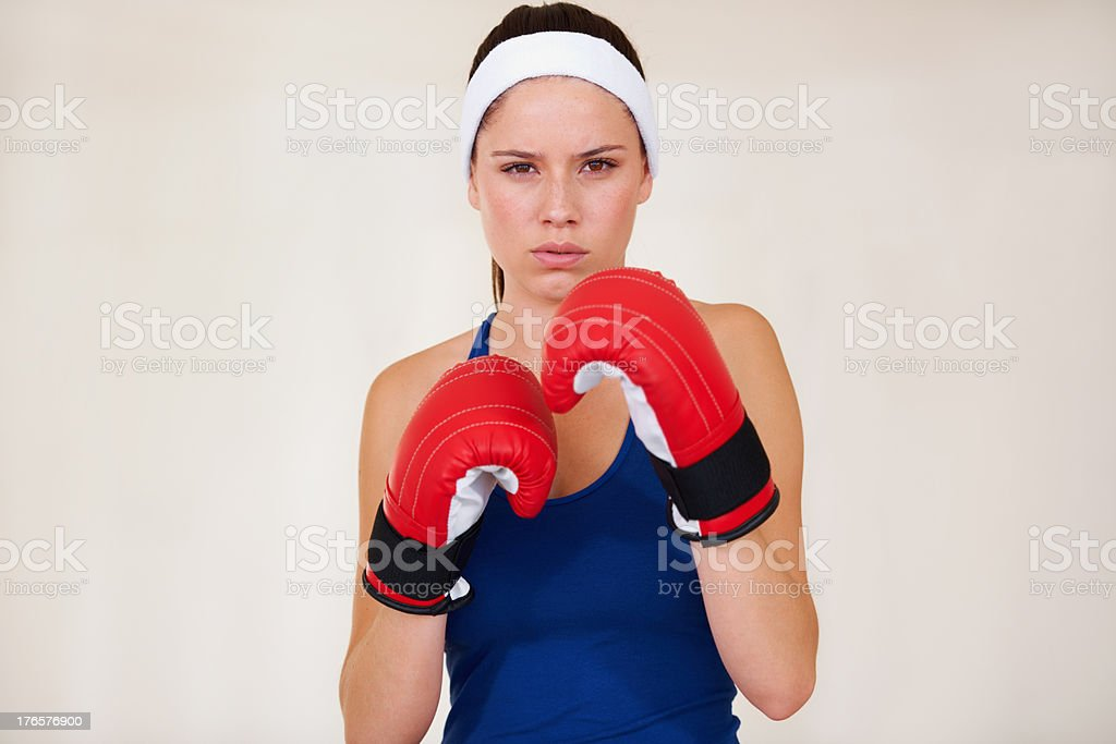 Taking her workout seriously! stock photo