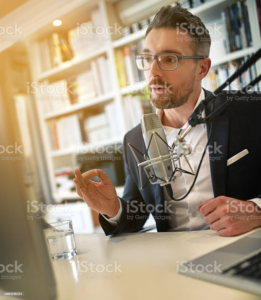 Taking his acumen online stock photo
