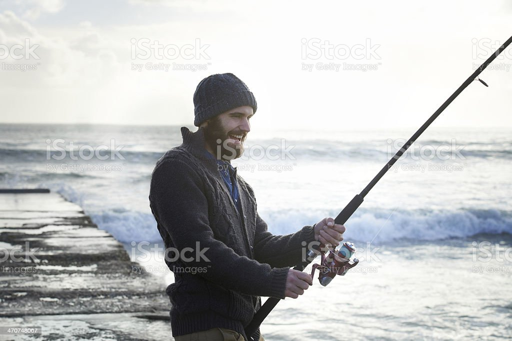 Taking his time for the big catch stock photo