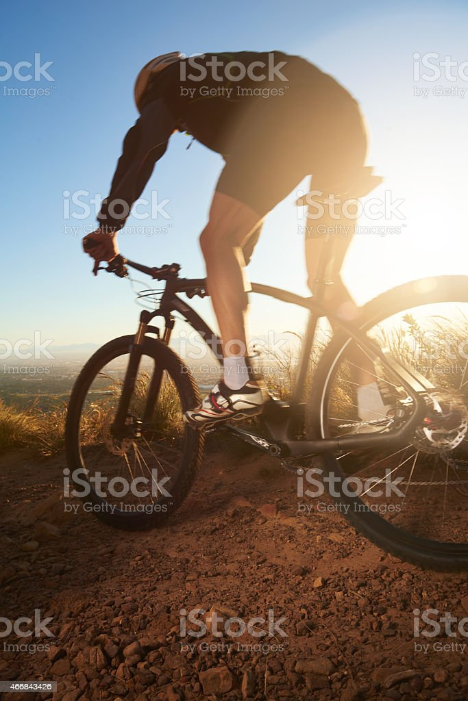 Taking his workout off road stock photo