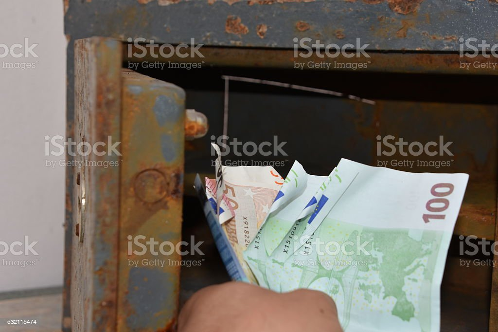 Taking, holding, euro bills stock photo