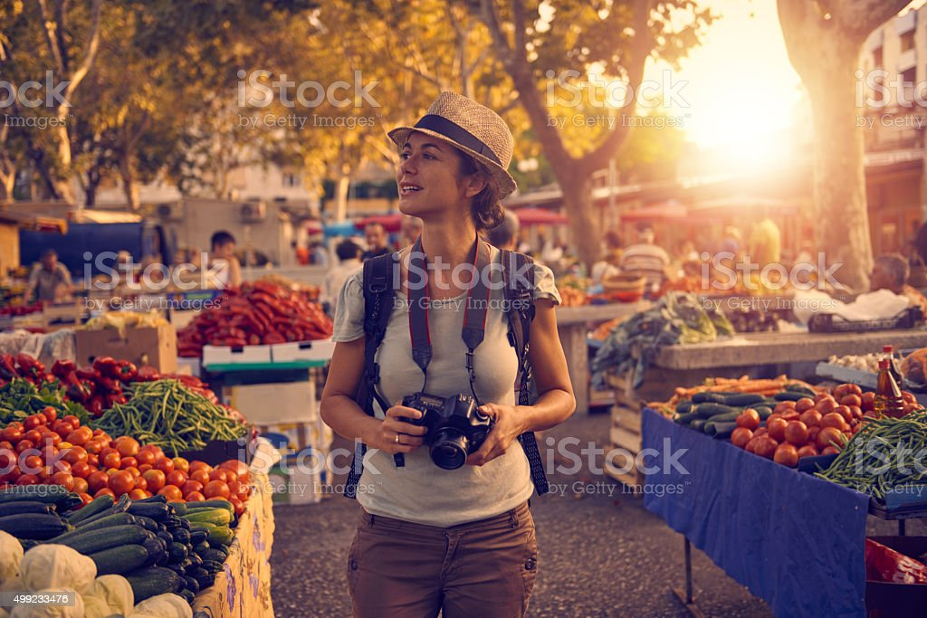 Taking in her vibrant surroundings stock photo