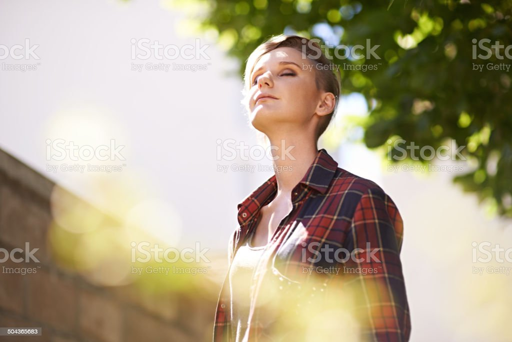 Taking in some fresh air stock photo