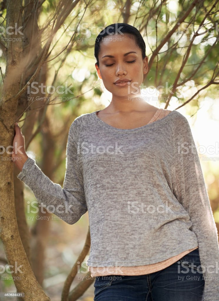 Taking in the sounds of nature stock photo