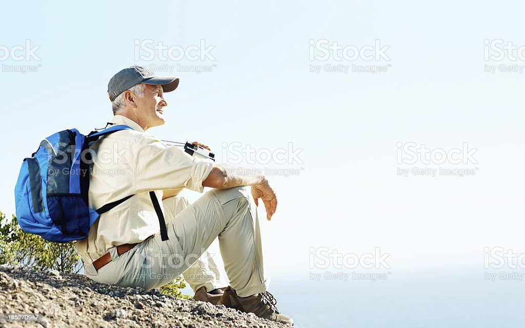Taking in the view - still enjoying my favourite hobby royalty-free stock photo