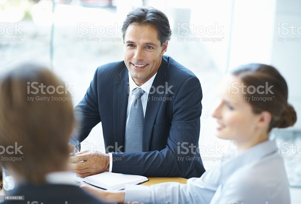 Taking initiative in the morning meeting royalty-free stock photo