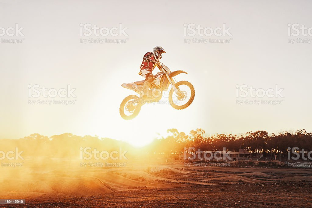 Taking it one jump at a timer stock photo