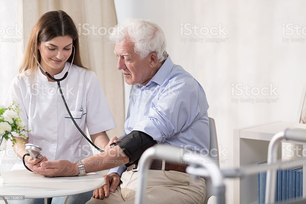 Taking man's blood stock photo