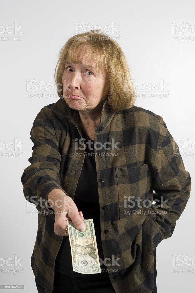 Taking Money from a Senior Citizen stock photo