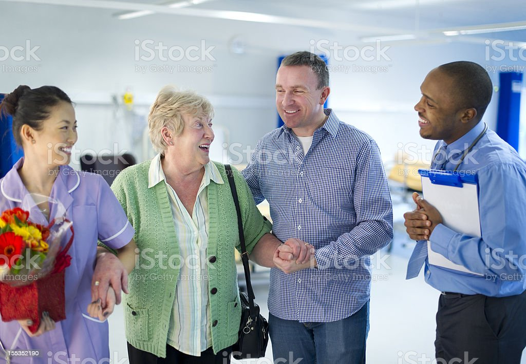 taking mum home from hospital stock photo