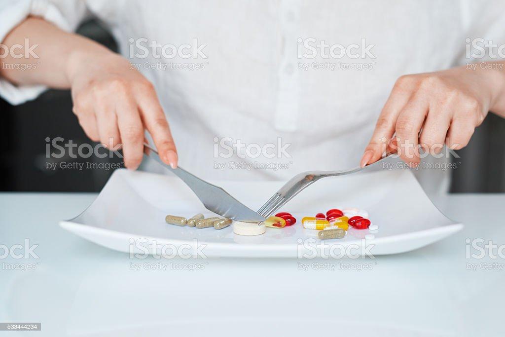 taking my vitamins stock photo