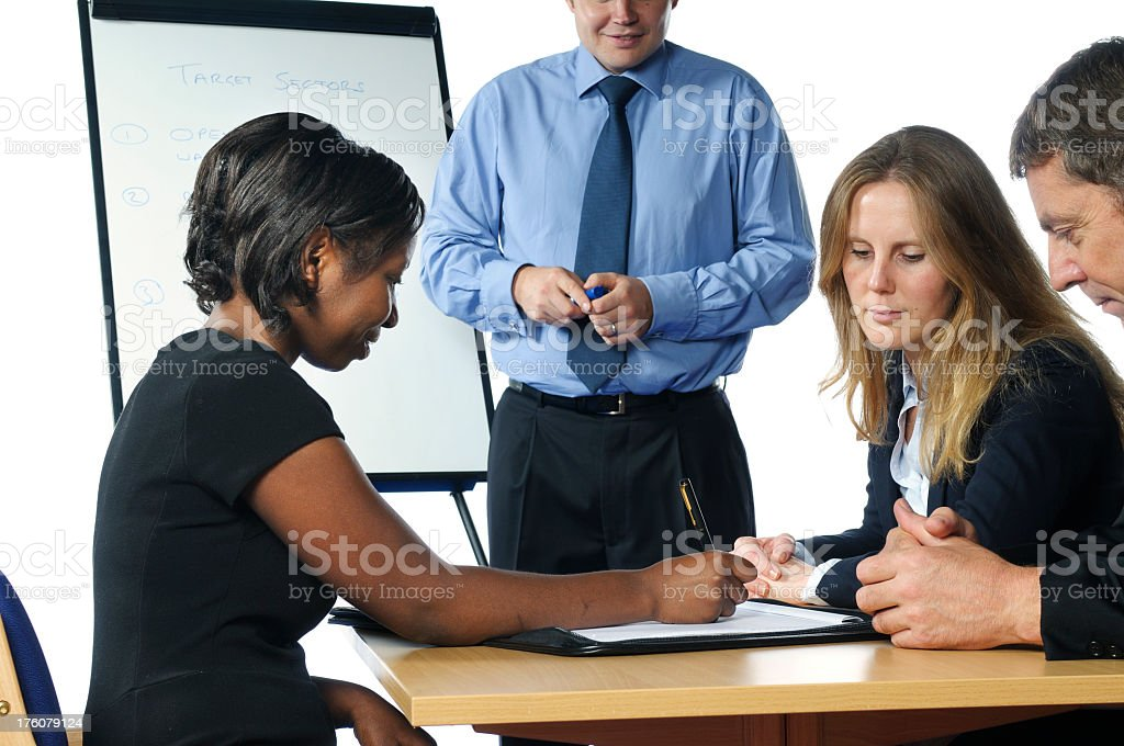 Taking Notes During a Meeting stock photo