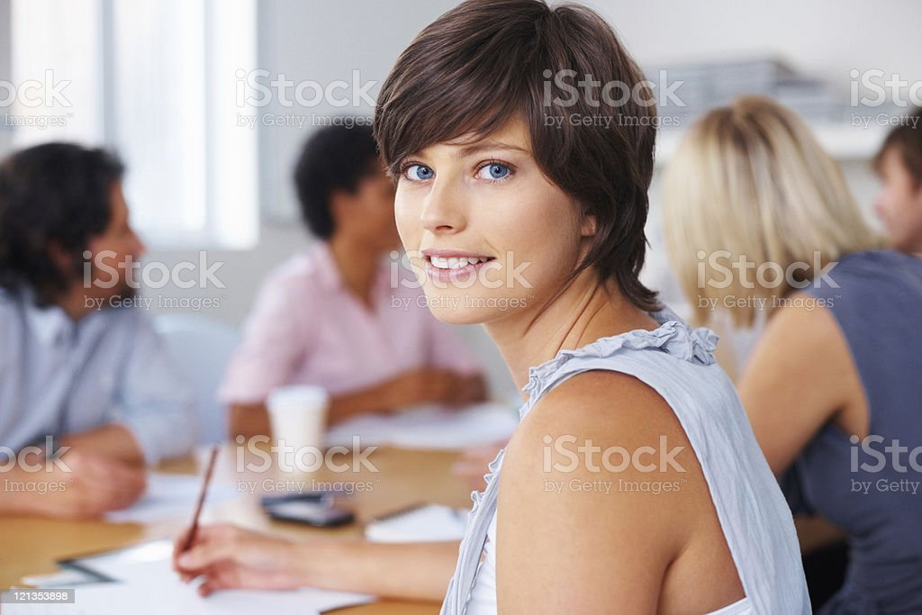 Taking notes during meeting royalty-free stock photo