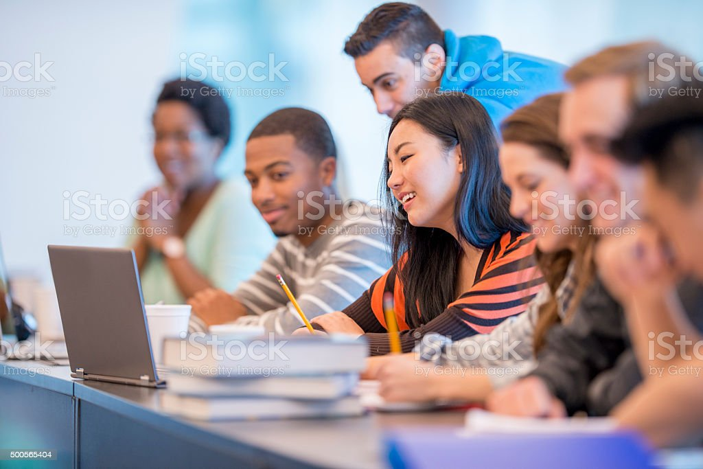 Taking Notes in Class stock photo