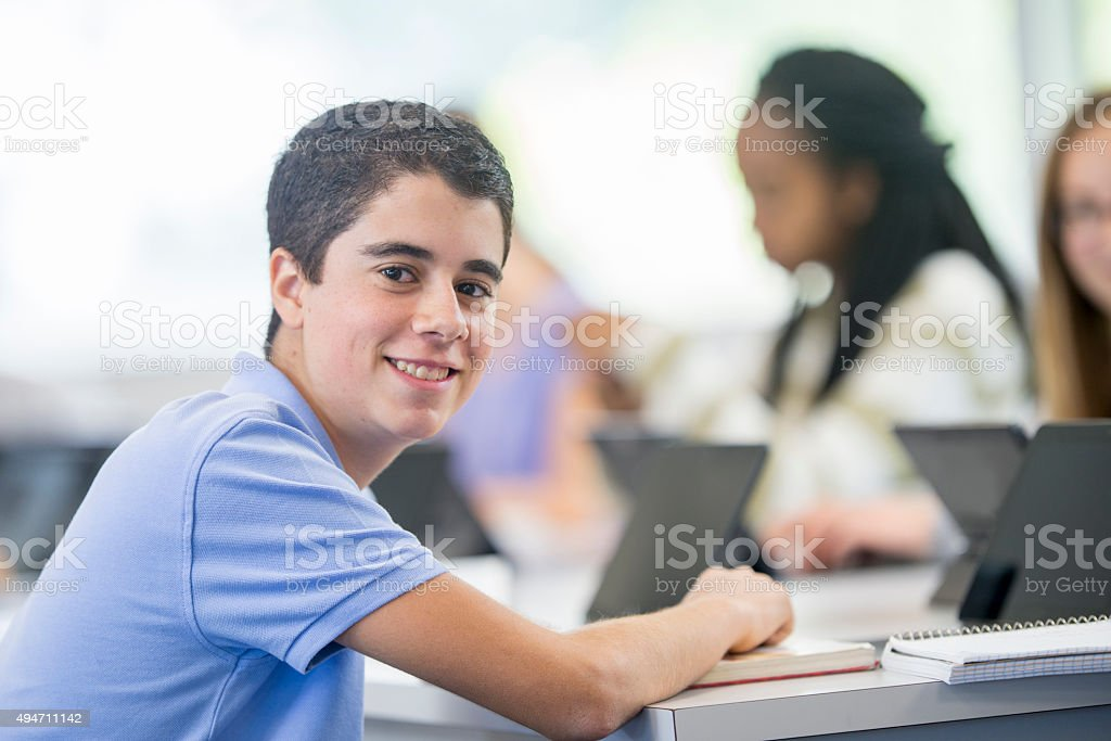 Taking Notes in the Computer Lab stock photo
