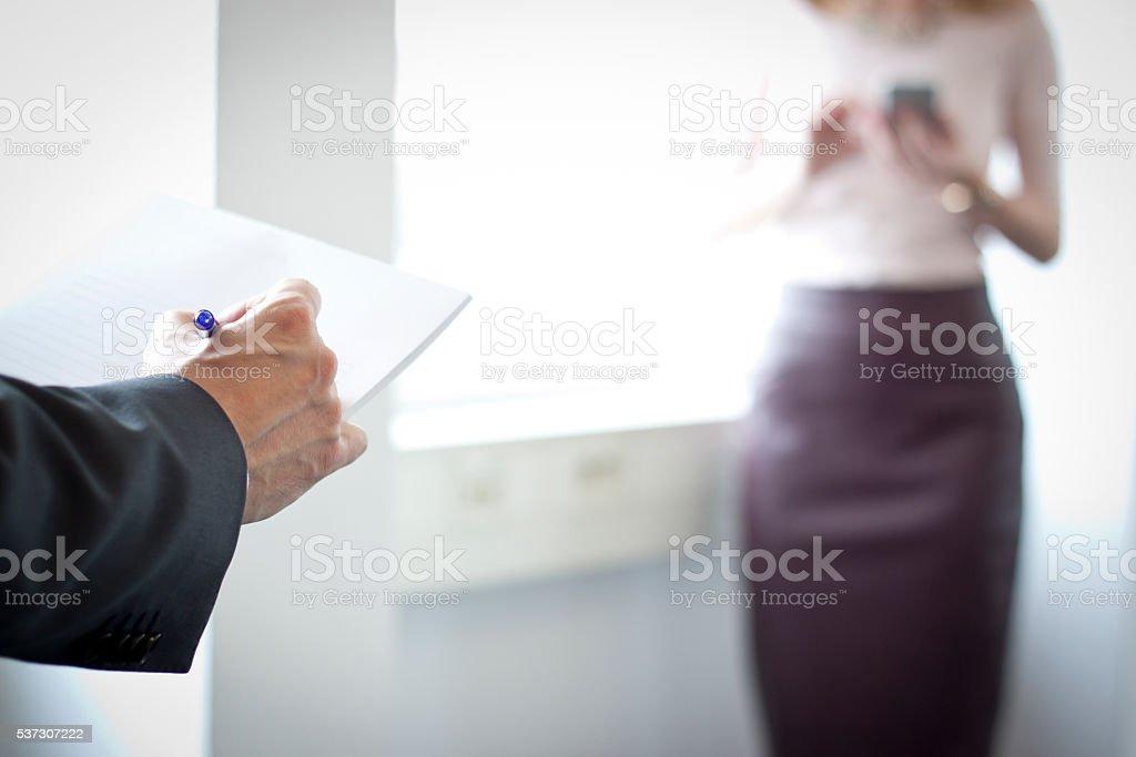 Taking notes stock photo