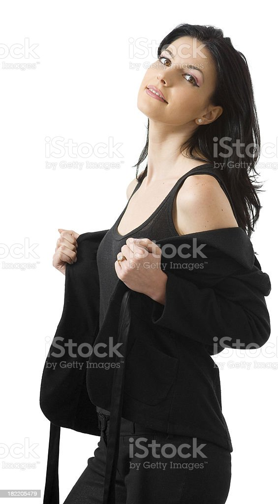 Taking off her jacket royalty-free stock photo