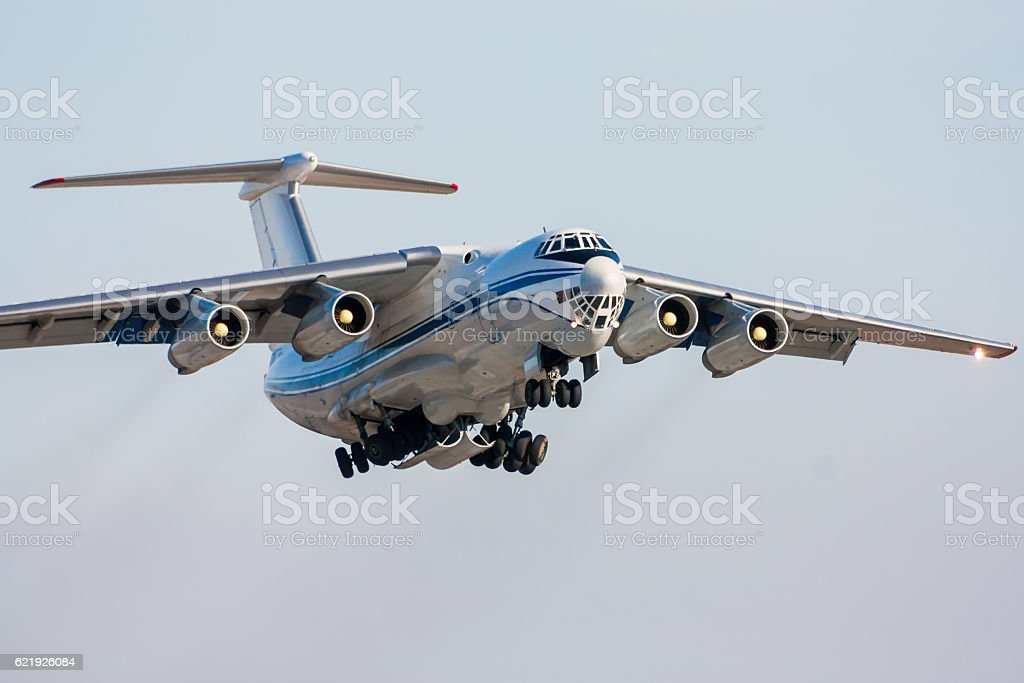 Taking off of the wide body cargo plane royalty-free stock photo